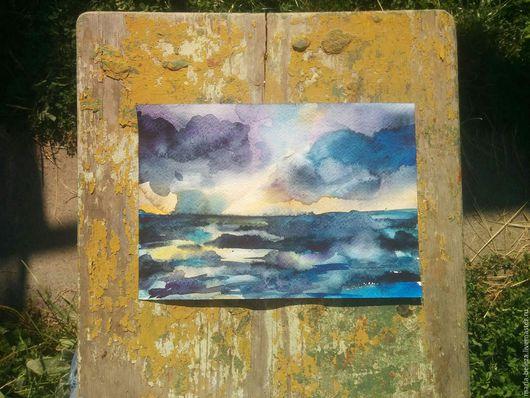 Пейзаж ручной работы. Ярмарка Мастеров - ручная работа. Купить Акварель Море волнуется. Handmade. Тёмно-синий, гроза, море