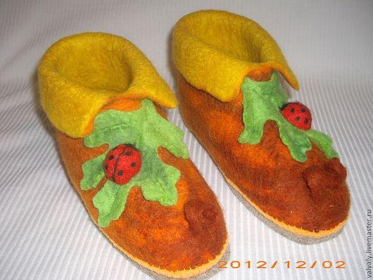 """Обувь ручной работы. Ярмарка Мастеров - ручная работа. Купить Войлочные домашние валеночки """" тыковки"""". Handmade. Рыжий"""