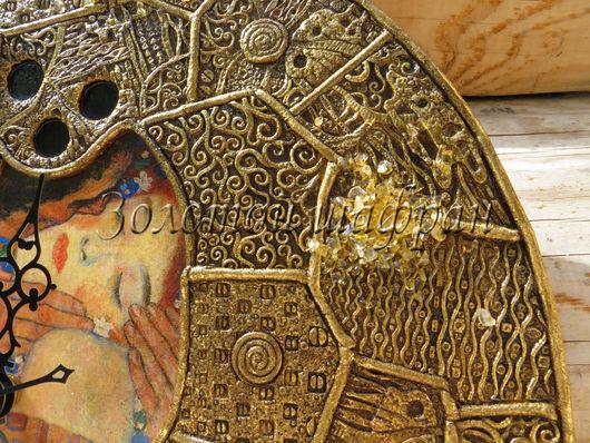 """Часы для дома ручной работы. Ярмарка Мастеров - ручная работа. Купить Особенный интерьер. Часы """"Золотой Климт"""" 2. Handmade."""