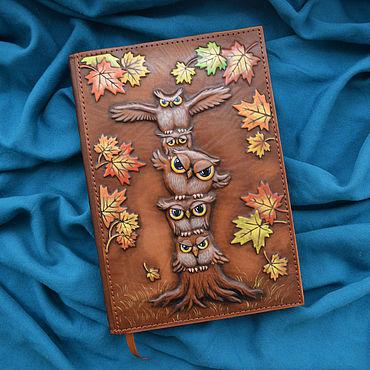 "Stationery handmade. Livemaster - original item Leather notebook ""OWL FAMILY"". Handmade."