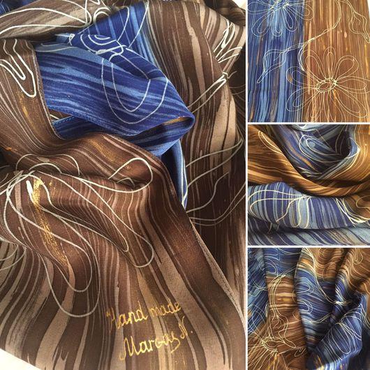 Шарфы и шарфики ручной работы. Ярмарка Мастеров - ручная работа. Купить Цветочный микс. Handmade. Горячий батик, крепдешин