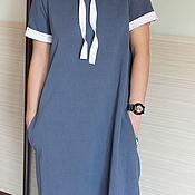 Платья ручной работы. Ярмарка Мастеров - ручная работа Длинное женское синее платье с капюшоном и отделкой из молочного шелка. Handmade.