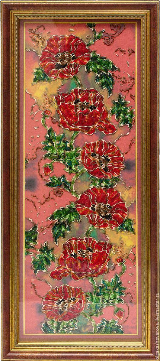 Картины цветов ручной работы. Ярмарка Мастеров - ручная работа. Купить Багряные маки. Handmade. Бордовый, Вышивка бисером, маки