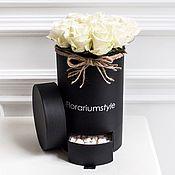 """Цветы и флористика ручной работы. Ярмарка Мастеров - ручная работа Букет из роз в шляпной коробке """"Блэк Уайт"""". Handmade."""