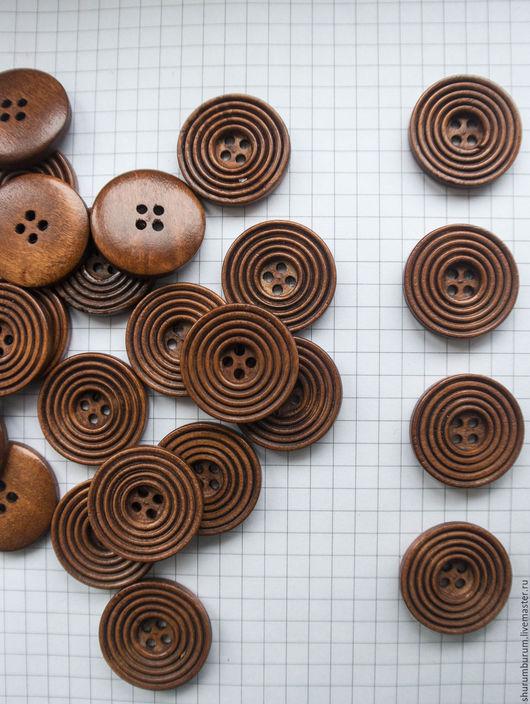 Шитье ручной работы. Ярмарка Мастеров - ручная работа. Купить деревянная пуговица рельефная 25 мм 4 прокола. Handmade.