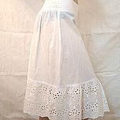 Одежда ручной работы. Ярмарка Мастеров - ручная работа Нижняя юбка из батиста Арт.108а с шитьем белая молочная. Handmade.