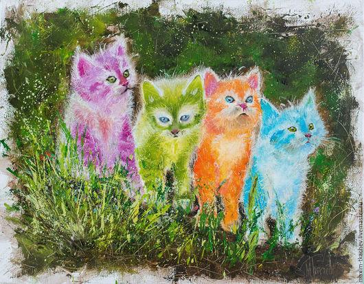 Животные ручной работы. Ярмарка Мастеров - ручная работа. Купить Котята. Handmade. Разноцветный, котята, картина в подарок, картина для интерьера