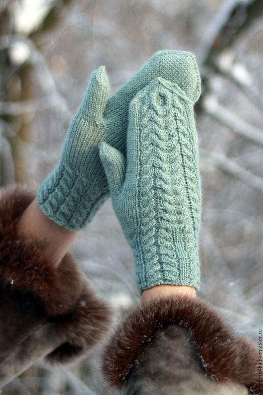 Варежки, митенки, перчатки ручной работы. Ярмарка Мастеров - ручная работа. Варежки вязаные спицами. Однотонные. Handmade.