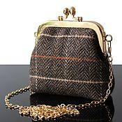 Сумки и аксессуары handmade. Livemaster - original item Wallets: A small purse-purse made of brown Tweed. Handmade.