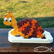 Stuffed Toys handmade. Livemaster - original item Good gifts for kids. Puzzles of wood. The turtle is humble. Handmade.
