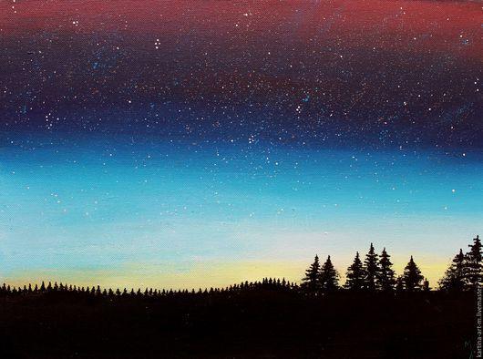 Пейзаж ручной работы. Ярмарка Мастеров - ручная работа. Купить Небо звёздное, сердце августа. Сказочная картина.. Handmade. Комбинированный