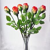Букет огненных роз из полимерной глины