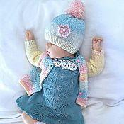 Работы для детей, ручной работы. Ярмарка Мастеров - ручная работа Кофточка + платьице + шапочка для новорожденной. Handmade.