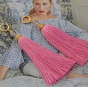"""Серьги классические ручной работы. Ярмарка Мастеров - ручная работа Серьги """"Delicate pink"""" розовый кварц, щёлк, позолоченная фурнитура. Handmade."""
