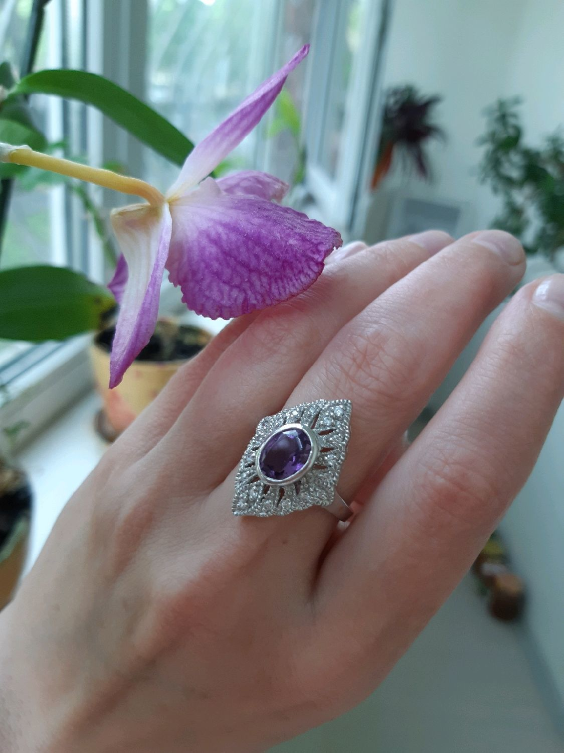 CLAIRE-stylish silver ring with amethyst, Rings, Moscow,  Фото №1