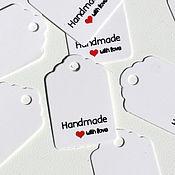 Этикетки ручной работы. Ярмарка Мастеров - ручная работа Бирка HandMade маленькая, белая. Handmade.