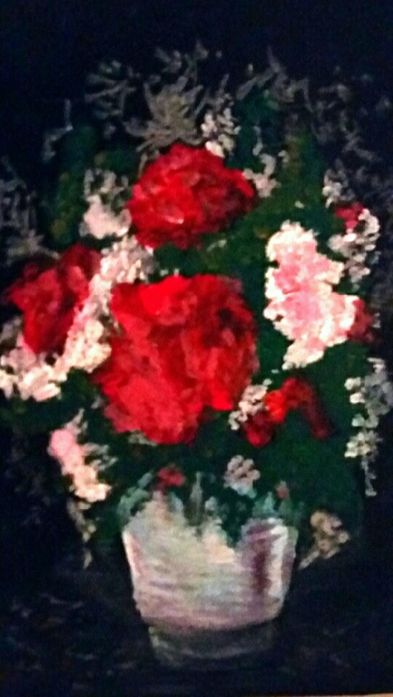Картины цветов ручной работы. Ярмарка Мастеров - ручная работа. Купить Букет в стакане. Handmade. Черный цвет, красный цвет