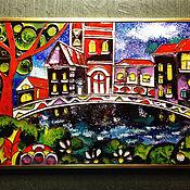 """Картины и панно ручной работы. Ярмарка Мастеров - ручная работа картина """"Домики"""". Handmade."""