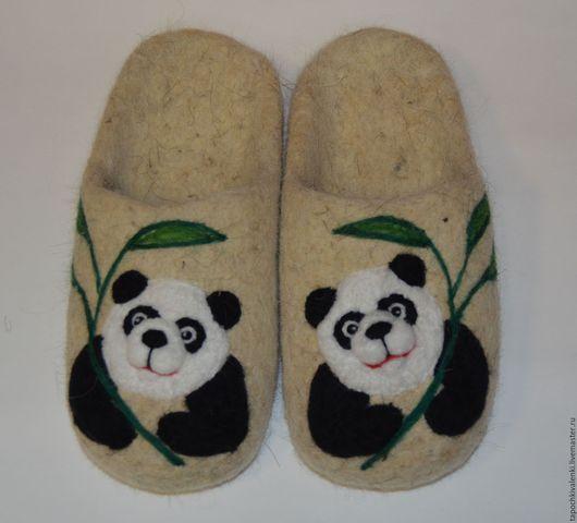 """Обувь ручной работы. Ярмарка Мастеров - ручная работа. Купить Валяные детские тапочки (обувь для дома) """"Панды"""". Handmade. Шерсть"""