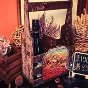Для дома и интерьера ручной работы. Ярмарка Мастеров - ручная работа Прованс, корзина для вина, декупаж. Handmade.