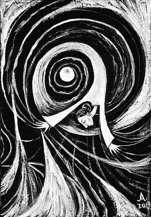 """Символизм ручной работы. Ярмарка Мастеров - ручная работа. Купить Картина """"Унеси меня, ветер"""". Handmade. Чёрно-белый, сюрреализм"""