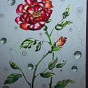 Картины и панно ручной работы. Ярмарка Мастеров - ручная работа Роспись по стеклу. Роза в грезах.. Handmade.