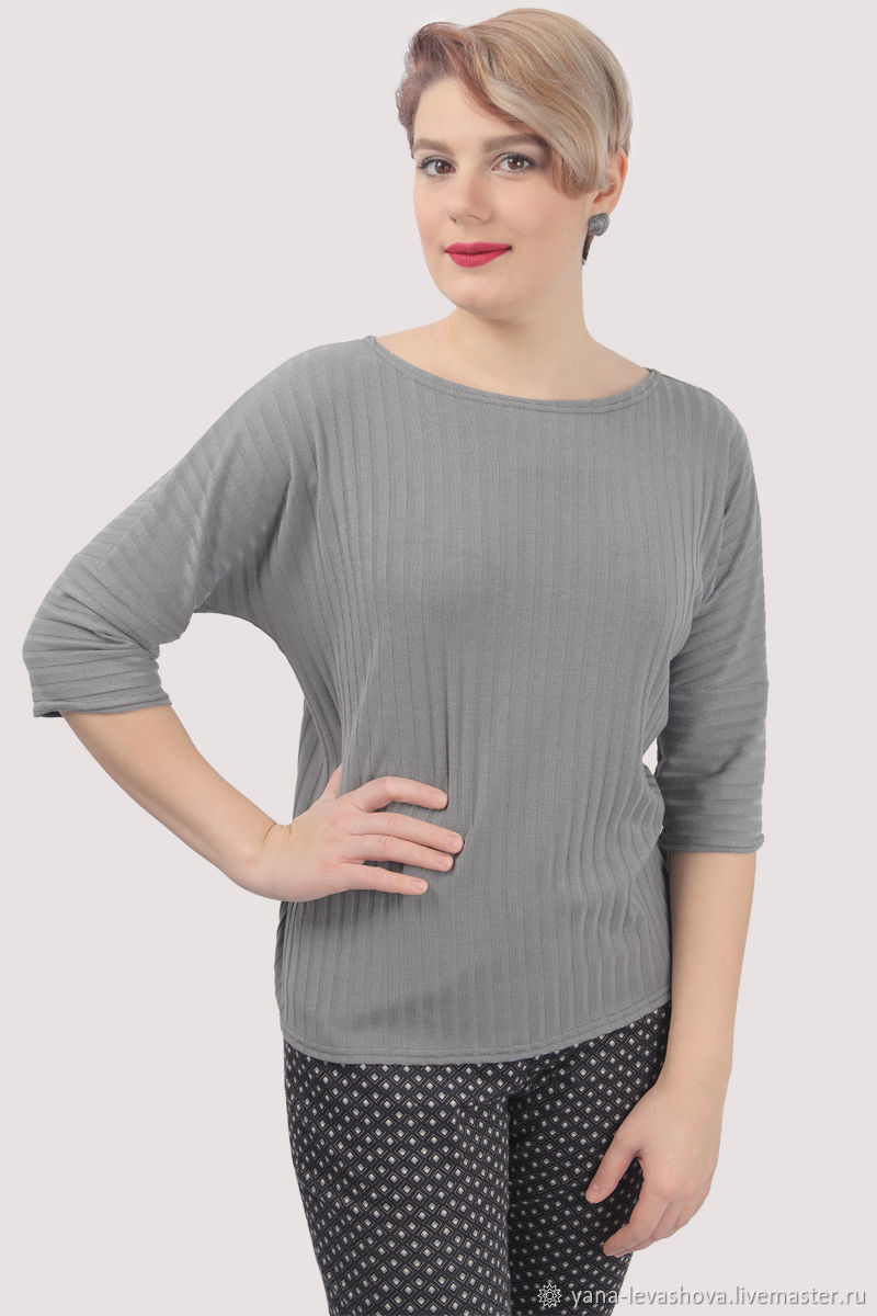 Jumper T-shirt grey striped Cotton, Jumpers, Moscow,  Фото №1