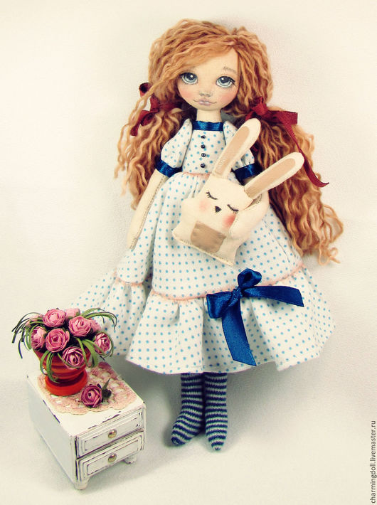 Коллекционные куклы ручной работы. Ярмарка Мастеров - ручная работа. Купить Авторская текстильная кукла. Handmade. Голубой, авторская кукла