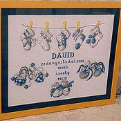 """Для дома и интерьера ручной работы. Ярмарка Мастеров - ручная работа Вышитая детская метрика """"Голубые пинетки"""". Handmade."""