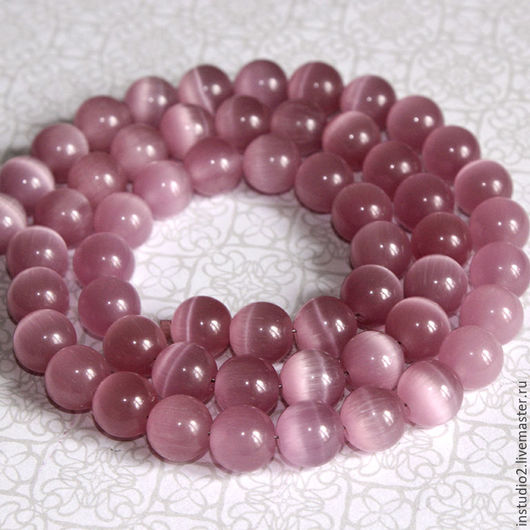 Для украшений ручной работы. Ярмарка Мастеров - ручная работа. Купить Кошачий глаз 10 мм шар розовый бусины камни для украшений. Handmade.