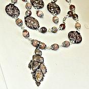 Украшения handmade. Livemaster - original item Set with fossil coral and a sun stone. Handmade.