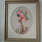 """Картины и панно ручной работы. Ярмарка Мастеров - ручная работа картина вышитая крестиком """"Незнакомка"""". Handmade."""
