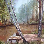 """Картины и панно ручной работы. Ярмарка Мастеров - ручная работа Авторская картина маслом """"У реки"""". Handmade."""
