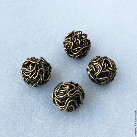 Для украшений ручной работы. Ярмарка Мастеров - ручная работа. Купить _Бусины 12 мм проволочные цвет бронза(латунь) шар для украшений. Handmade.