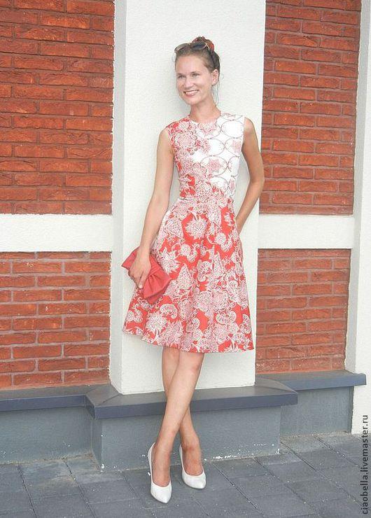 """Платья ручной работы. Ярмарка Мастеров - ручная работа. Купить Платье """"Claudia"""". Handmade. Ярко-красный, юбка миди, ретро"""