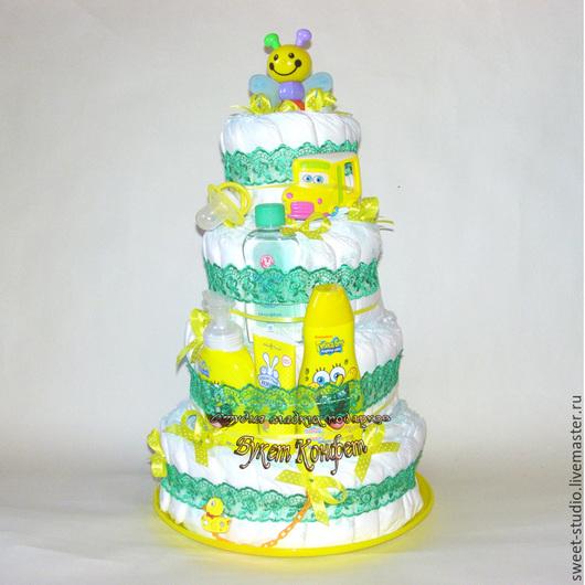 """Подарки для новорожденных, ручной работы. Ярмарка Мастеров - ручная работа. Купить Торт из памперсов """"Майский"""". Handmade. Зеленый, торт из подгузников"""