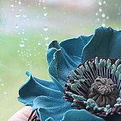"""Украшения ручной работы. Ярмарка Мастеров - ручная работа Брошь- мак """"Бирюзовый"""" Украшения из кожи.Кожаные цветы. Handmade."""