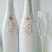 Бутылки ручной работы. Ярмарка Мастеров - ручная работа Свадебное оформление бутылок Белая свадьба. Handmade.