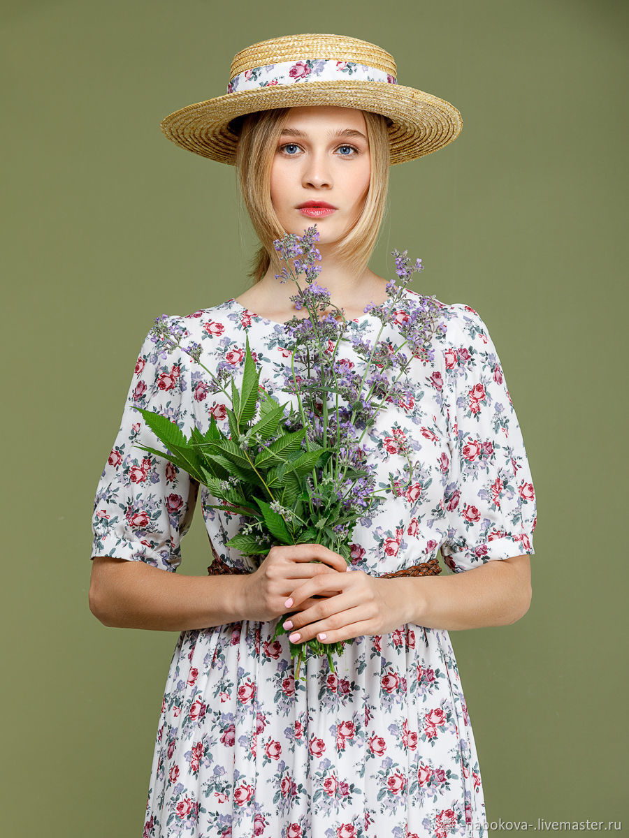 White MIDI length dress with floral print in retro style, Dresses, Moscow,  Фото №1