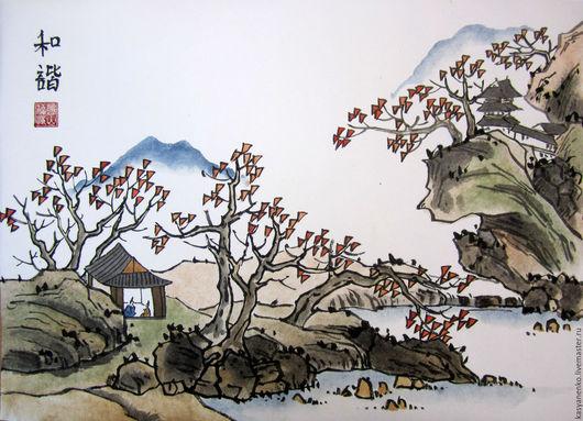 Пейзаж ручной работы. Ярмарка Мастеров - ручная работа. Купить Осенний пейзаж. Handmade. Комбинированный, китайская живопись, китайский пейзаж