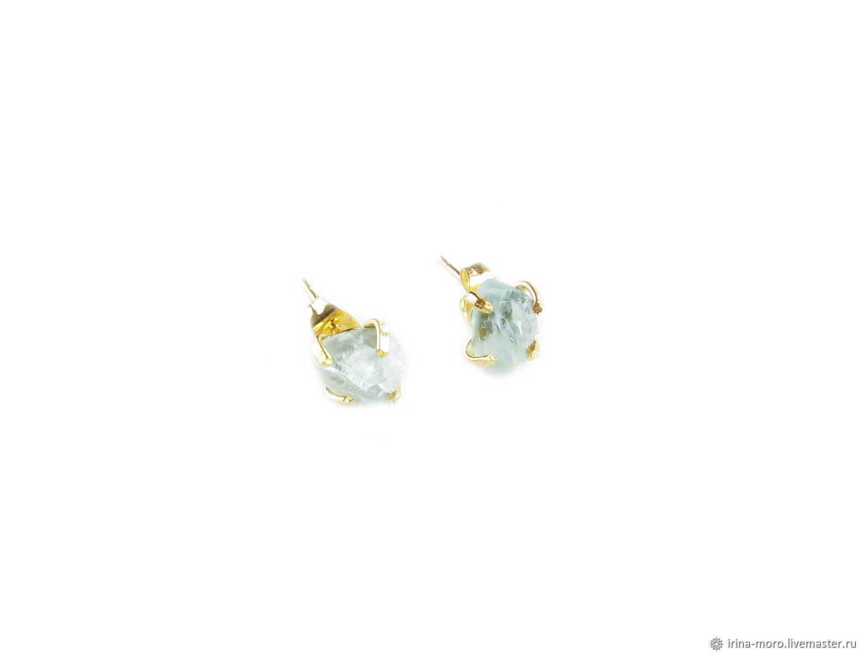 Aquamarine earrings, earrings with aquamarine 'Ice'', Stud earrings, Moscow,  Фото №1