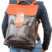 Сумки и аксессуары handmade. Livemaster - original item Leather backpack Space (black with orange). Handmade.