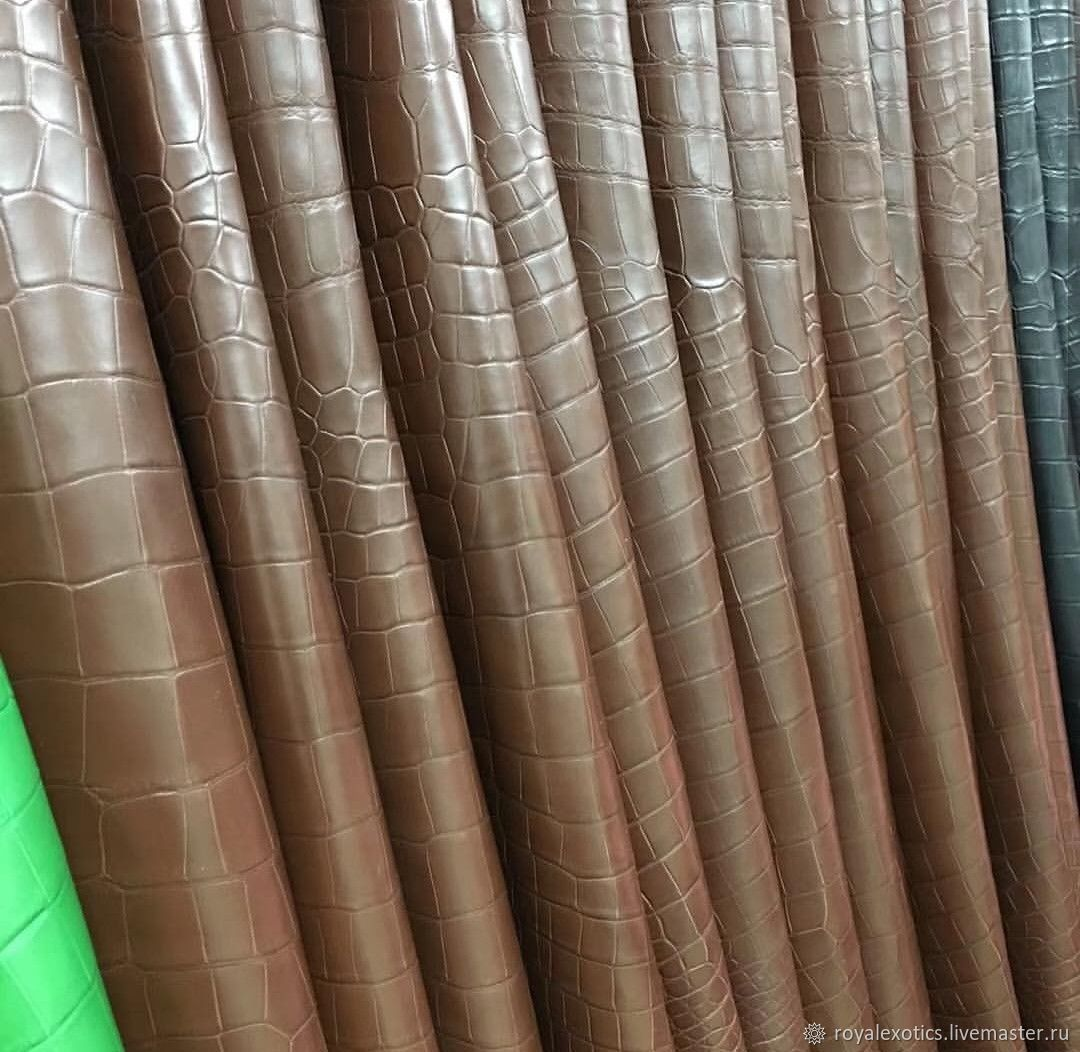 Crocodile skin, clothing dressing, soft and thin, 0.6. mm, Leather, Tosno,  Фото №1