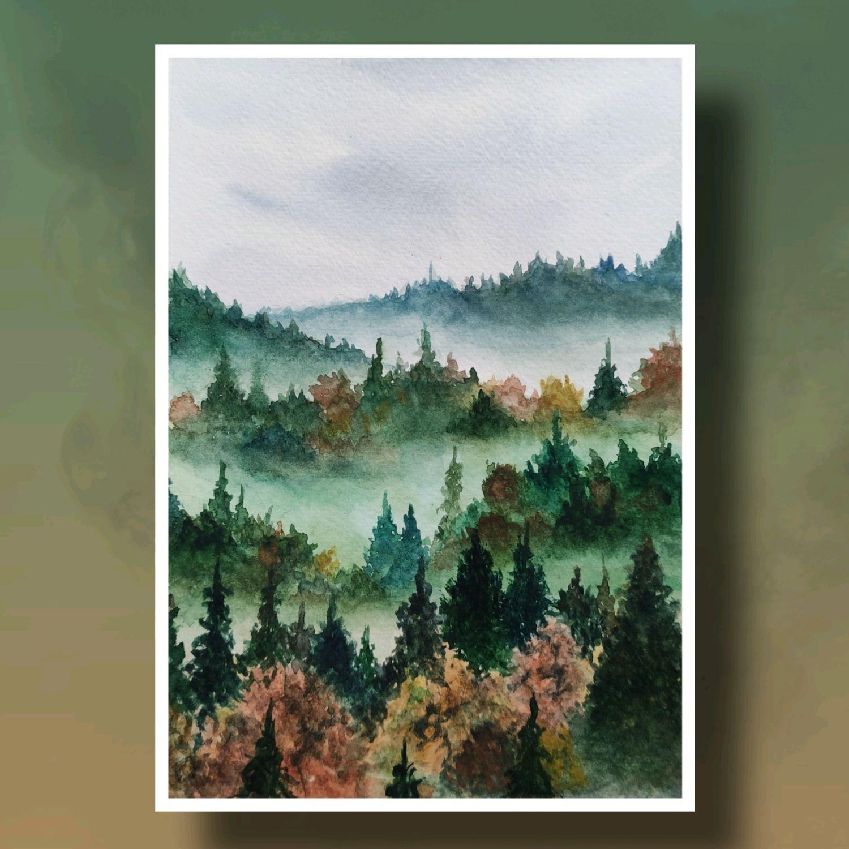"""Картина акварелью """"Туманный лес"""", Картины, Санкт-Петербург,  Фото №1"""