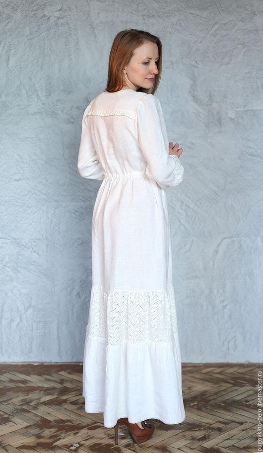 Платья ручной работы. Ярмарка Мастеров - ручная работа. Купить Нижнее льняное платье с шитьём. Handmade. Молочный, льняное платье
