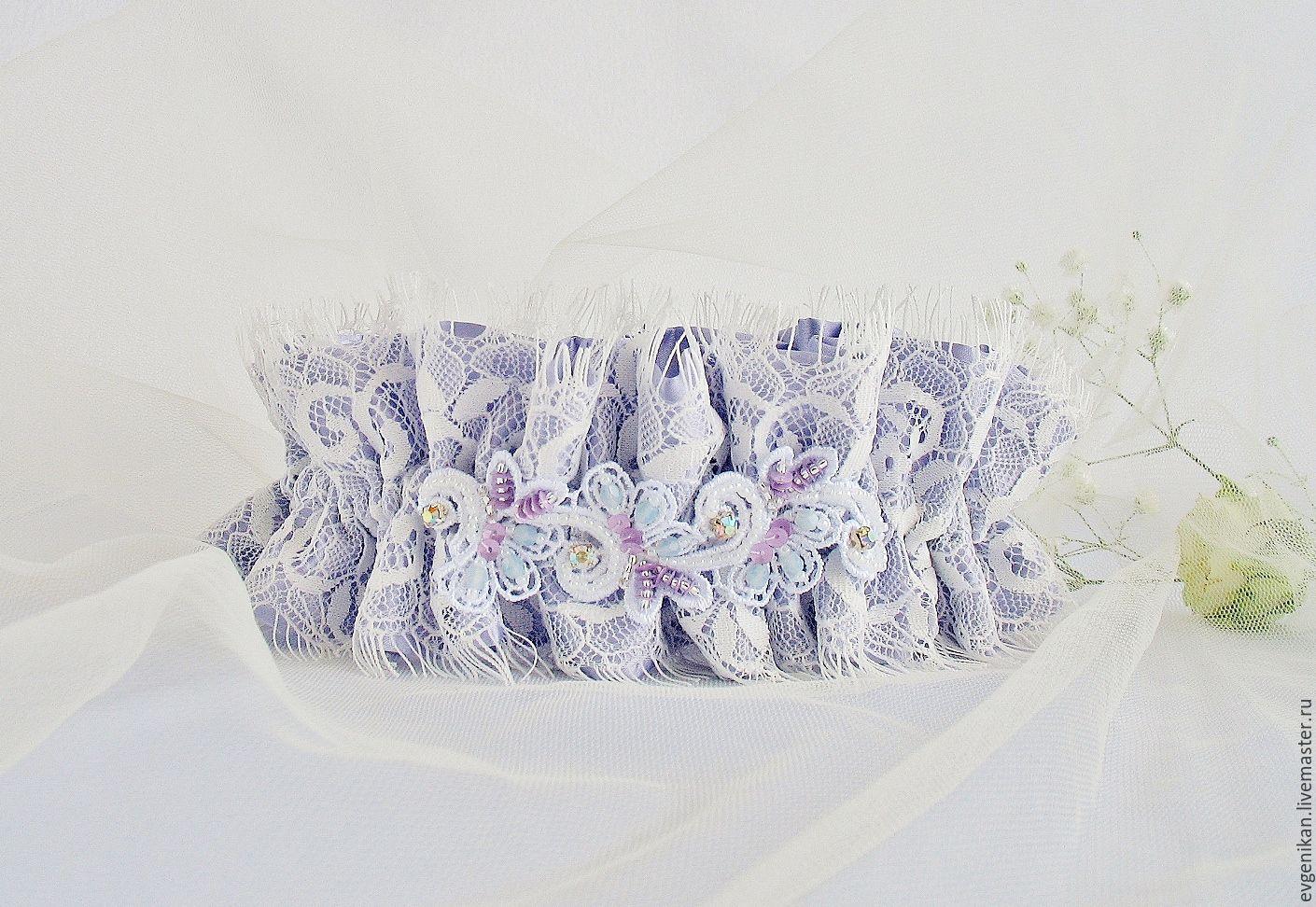 """Одежда и аксессуары ручной работы. Ярмарка Мастеров - ручная работа. Купить Подвязка для невесты """"Эльза"""". Handmade. Вышивка бисером"""