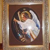 """Картины и панно ручной работы. Ярмарка Мастеров - ручная работа Икона """"Ангел с молитвой"""" выполнена бисером,стразами Сваровски. Handmade."""