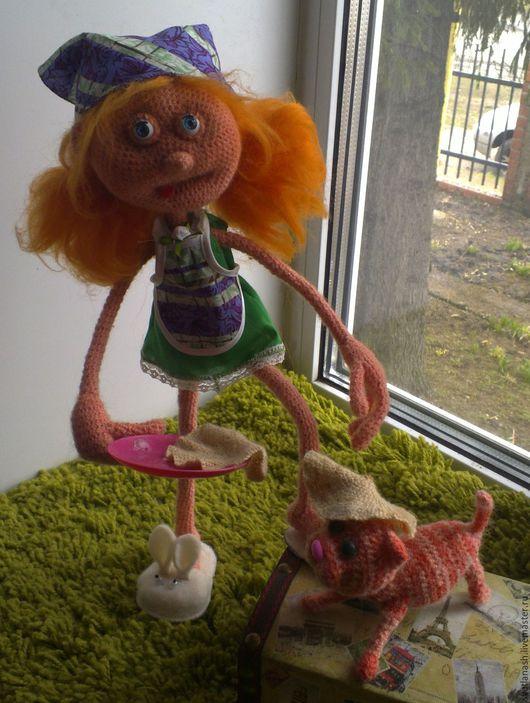 Человечки ручной работы. Ярмарка Мастеров - ручная работа. Купить МАМИНА ПОМОЩНИЦА. Handmade. Розовый, кукла, холофайбер