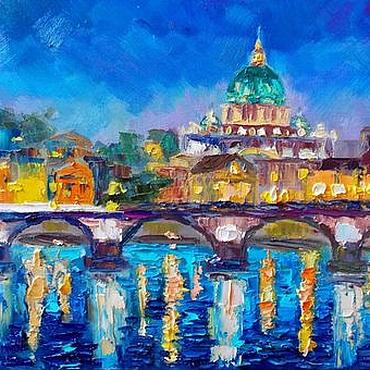 Картины и панно ручной работы. Ярмарка Мастеров - ручная работа Картина маслом Ночью в Италии каждый влюбленный. Handmade.
