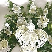 Подарки к праздникам handmade. Livemaster - original item Christmas decorations lace pendants. Handmade.